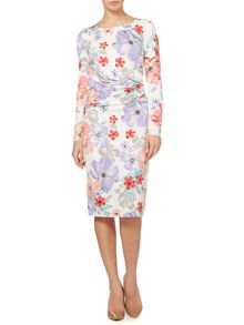 Floral gathered jersey dress