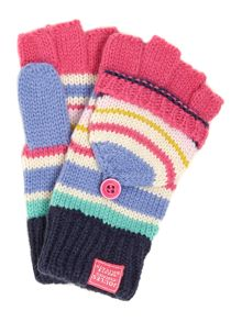 Girls stripy knitted mittens