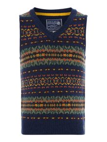 Boys Fairisle V neck tank