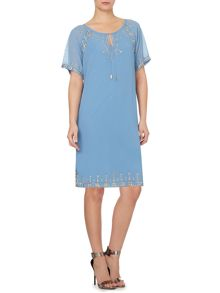 Studded tie neck easy shift dress