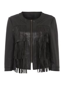 Tassel detail leather zip front jacket