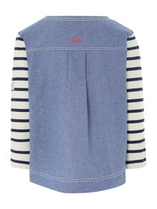 Girls pullover stripe and chambray sweatshirt