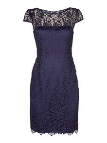 Cap sleeve guipure lace dress