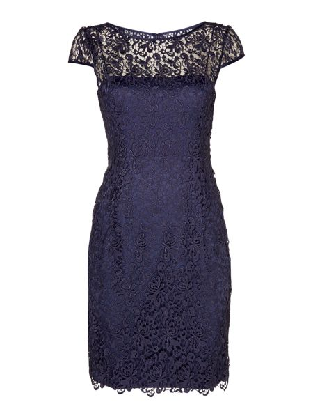 Adrianna Papell Cap sleeve guipure lace dress