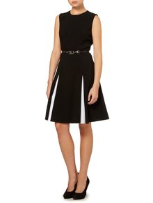 Black with White Pleat Detail Dress