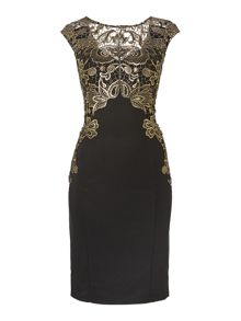 Foil lace top bodycon dress