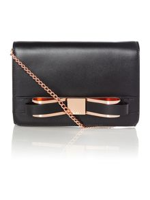 Black small bow leather cross body bag