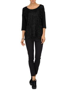 Davinia lace mix knit jumper