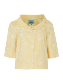 Floral collar jacket with button