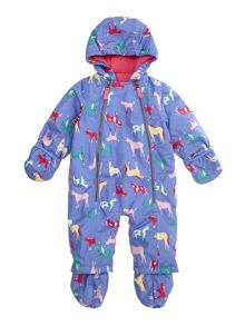 Baby girls zip front waterproof snowsuit