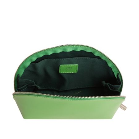 Paper Thinks Green leather medium cosmetic bag