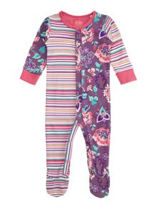 Baby girls stripes and flowers baby grow