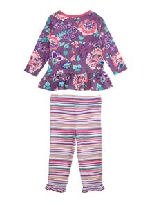 Baby girls long sleeve and legging floral stripe