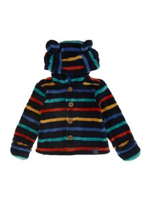Bbaby boys button through stripe fleece