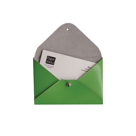 Paper Thinks Green leather mini travel card