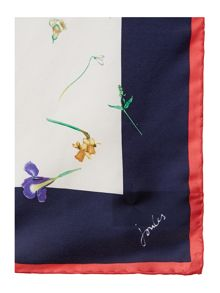 French navy garden bloomfiled silk square scarf