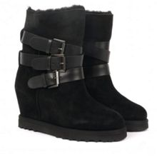Yes Ter Suede/Fleece Lined Wedge Boots