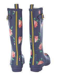 French navy peony tall welly