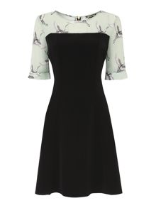 Printed yoke fit and flare dress