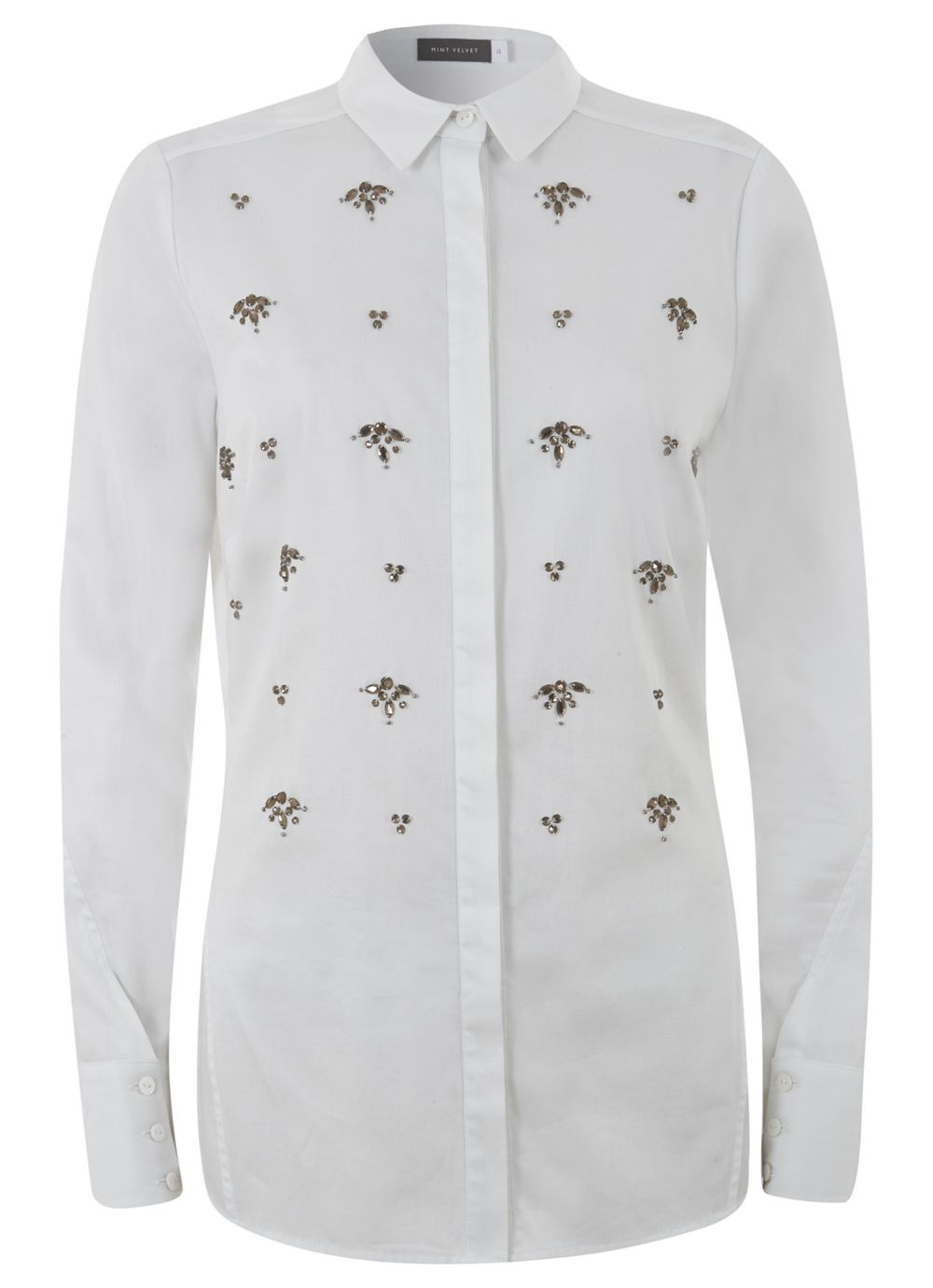 White Embellished Shirt