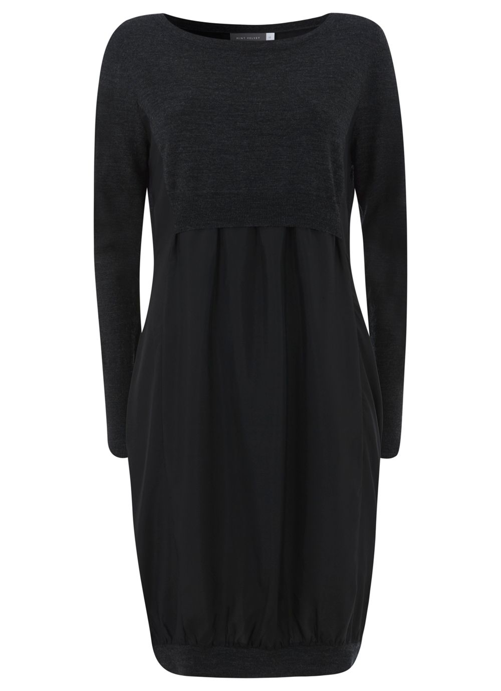 Charcoal & Black Silk & Knit Dress