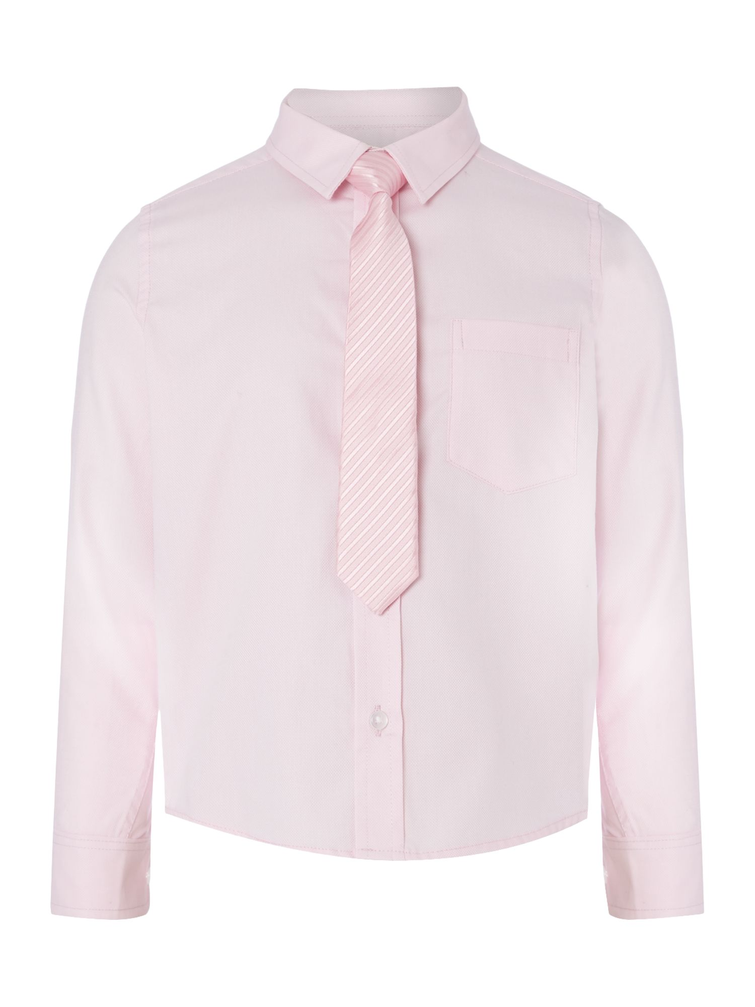 Howick Junior Howick Junior Boys long sleeved shirt with tie, Pink