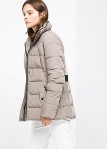 Quilted feather down coat