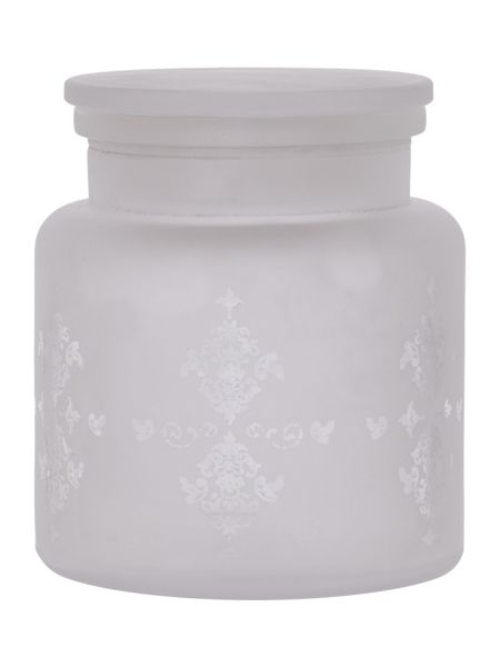 Shabby Chic Filigree glass cotton jar