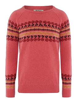 Girls floral knit yoke pattern crew neck jumper