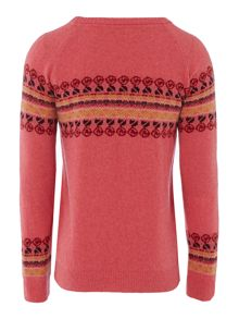 Barbour Girls floral knit yoke pattern crew neck jumper