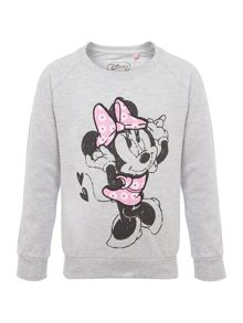 Girls Minnie Mouse Applique Sweater