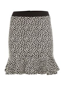 Animal print fit and flare skirt