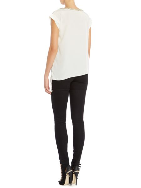 Rock and Religion Short sleeved top and asymmetric embellished neck