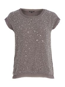 Short sleeve round neck beaded top