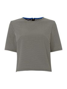 Stripe ribbed shell top