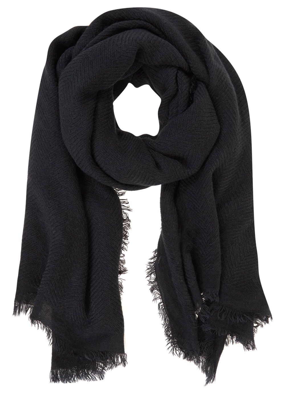 Navy Textured Scarf