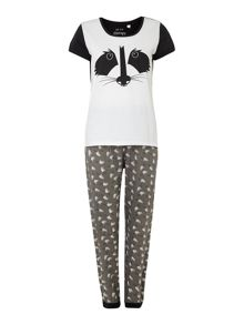 Racoon print mixed fabric cuffed pant & t-shirt