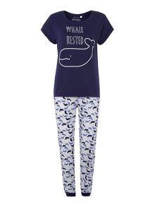 Whale print mixed fabric cuffed pant & t-shirt
