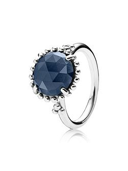 Shining Midnight Crystal Silver Ring