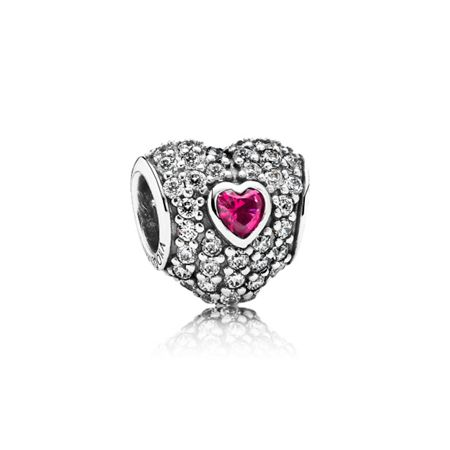 Pandora Red Pavé Triple Heart Charm