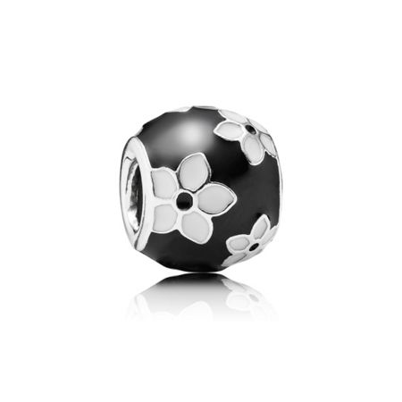 Pandora Black and White Flower Charm