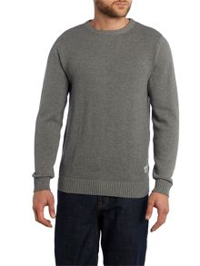Mens LS textured knitted jumper
