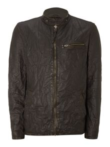 Mens leather chest pocket jacket