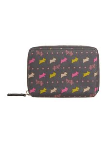 Dog and spot grey medium zip around purse