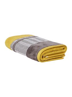 Chevron Border Hand Towel in Chartreuse
