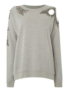 Embellished cut out sweat