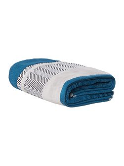 Chevron Border Hand Towel in Teal
