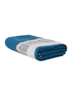 Chevron Border Bath Towel in Teal