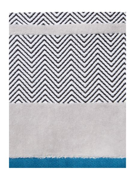 Living by Christiane Lemieux Chevron Border Bath Sheet in Teal