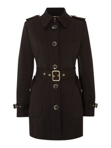 Trench fit and flare soft shell coat